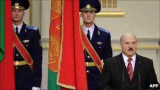 Belarus President Alexander Lukashenko speaks during his inauguration ceremony at the Palace of the Republic in Minsk on January 21, 2011