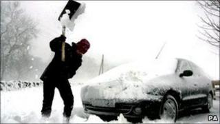 A person stuck in snow (generic)