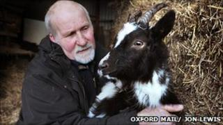 Mr Turner with the injured goat