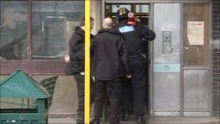 Police raiding a property