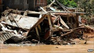Houses destroyed by floods in the village of Areal, Rio de Janeiro State