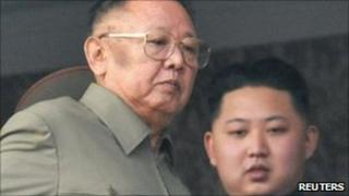 Kim Jong-il, left, with youngest son Kim Jong-un October 10, 2010