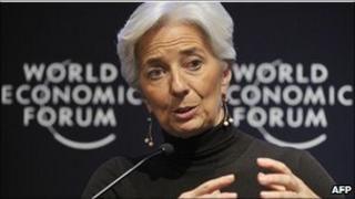 French Finance Minister Christine Lagarde at the Davos forum