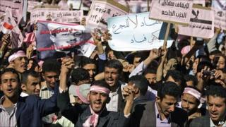 Demonstrators in Sanaa, Yemen, 27 January 2010