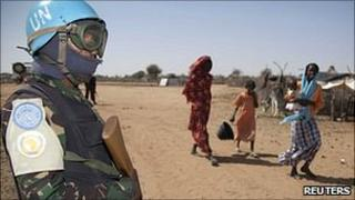 A UN peacekeeper in Darfur, 10 January 2011