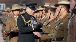 The Prince of Wales presents Afghanistan Service Medals to Gurkhas in Folkestone