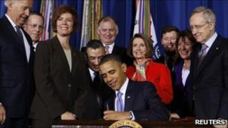 "President Barack Obama signs the ""don't ask, don't tell"" repeal into law"