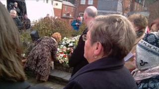 Wreaths being laid