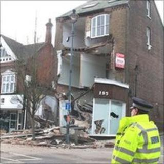 The collapsed building in Berkhamsted