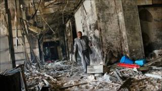 Charred remains of a government building in Cairo