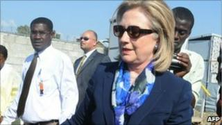 Hillary Clinton during her trip to Haiti