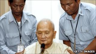 Former Khmer Rouge leader Nuon Chea at the Extraordinary Chambers in the Court of Cambodia (ECCC) in Phnom Penh on 20 March 2008