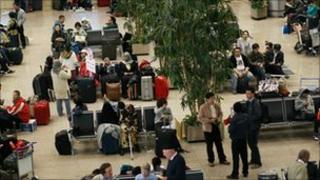 Stranded passengers at Cairo International Airport