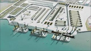 An artist's impression of the Belfast Harbour Marine Energy Park