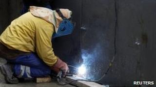 A welder at work in Madrid, January 2011