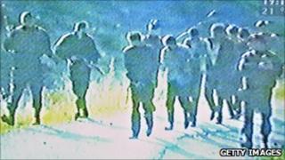 Scene from a video of Srebrenica killings broadcast in Serbia on 2 June 2005