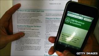HMRC website viewed on a smart-phone