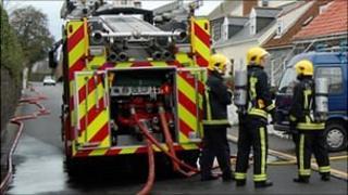 Guernsey firefighters attend a house fire