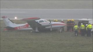 The Cessna aircraft veered onto the grass at Jersey Airport