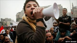 Protesters in Tahrir Square. 1 Feb 2011