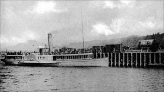 Picture of the pier at Balloch, Loch Lomond, taken in Victorian times (picture courtesy of Loch Lomond and the Trossachs National Park Authority)