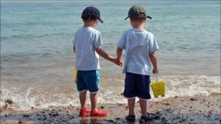 twins on the beach