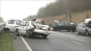 Scene of crash on A15