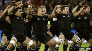 New Zealand All Blacks players perform the haka before a rugby match (November 2010)