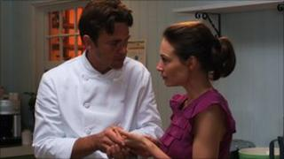 Dougray Scott and Claire Forlani in scene from No Ordinary Trifle. Pic supplied by Food on Film Festival