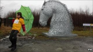 School pupil at Helix project site between Falkirk and Grangemouth