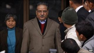 Maoist leader Pushpa Kamal Dahal or Prachanda after filing his nomination paper on 2 February 2011
