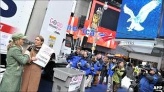Good Riddance (to smoking) Day in New York's Times Square Day on 28 December 2010
