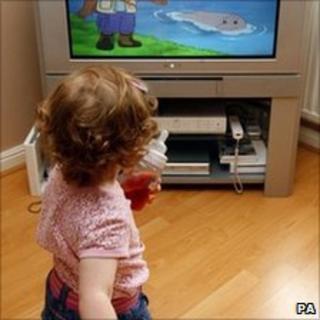 Child watching television