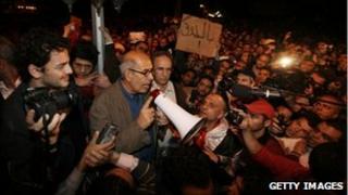 Mohamed ElBaradei speaks in Tahrir Square, 30 January