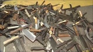 A weapons bin is emptied in London (library picture)