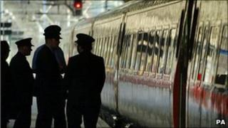 Train at a platform