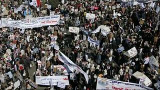 Protesters in Tahrir Square, Yemen
