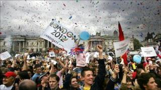 Crowds celebrating after London won race to host Olympics