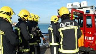 Guernsey firefighters at Castle Cornet