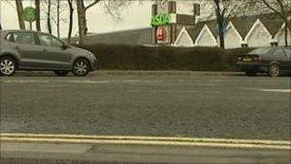 Double yellow lines outside Asda store