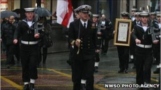 HMS Manchester crew marching through city (pic courtsey of NWSO Photo Agency)