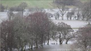 The flooded river Dee