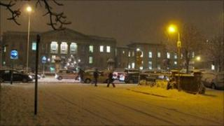 The Royal Berkshire Hospital in Reading in the snow