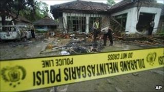House of an Ahmadi after it was attacked by Muslim mob in Pandeglang, Banten province, Indonesia, Monday, Feb. 7, 2011