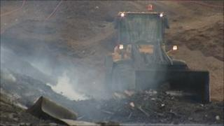Fire at recycling plant