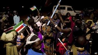 Southern Sudanese celebrate the formal announcement of referendum results in the southern capital of Juba . Photo: 7 February 2011