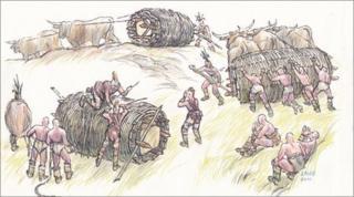 Cartoon of men moving stones