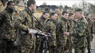The Prince of Wales meets soldiers from The 3rd Battalion, The Mercian Regiment
