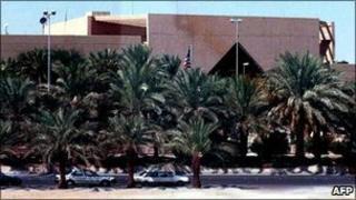 The US embassy in Riyadh, Saudi Arabia, shown in 2002