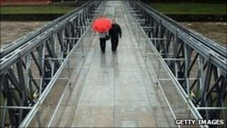 Workington residents crossing the new bridge